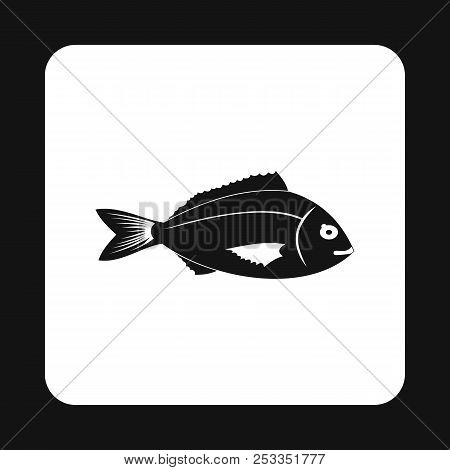 Saltwater fish icon in simple style isolated on white background. Inhabitants aquatic environment symbol poster