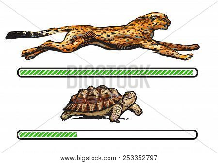Cheetah And Turtle. Fast And Slow Loading Bar. Vector