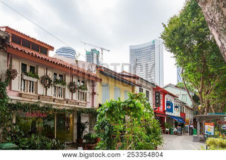 Singapore, Singapore - January 16, 2013. Colonial Architecture Of Ophir Road. Buildings With Many De