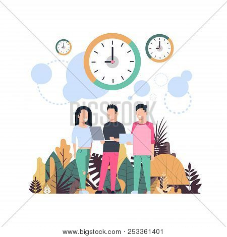 Clock Man Woman Cominicating Punctuality Concept Over Flat