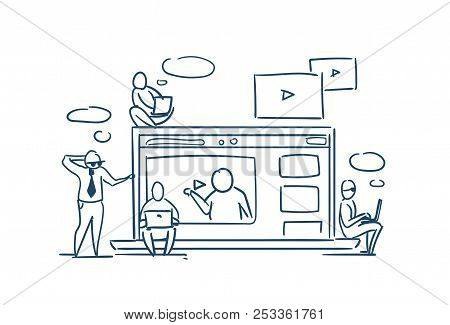 Media Player Online Training Video Webinar Concept Business People Sitting On Laptop Videoblogs On W