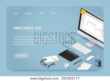 Vector Isometric Illustration Of Freelancer Workspace. Desktop Computer With Graphic Design Software
