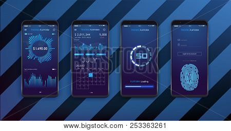 UI, UX and GUI template layout for Mobile Apps. Statistic dashboard. Smartphone screen with stock market investments financial dashboard, business intelligence and key performance indicators poster