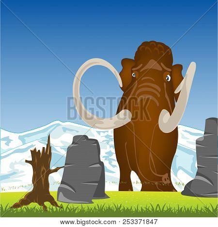 Mammoth On Glade.prehistorical Animal Mammoth On Green Glade