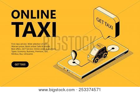Online Taxi Vector Illustration Of Isometric Black Thin Line Art On Yellow Halftone Background. Mobi