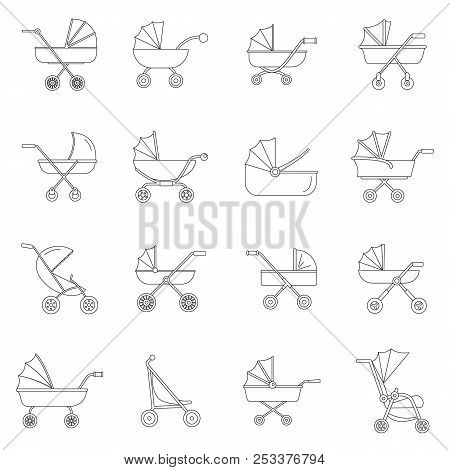 Pram stroller carriage cradle buggy icons set. Outline illustration of 16 pram stroller carriage cradle buggy icons for web poster
