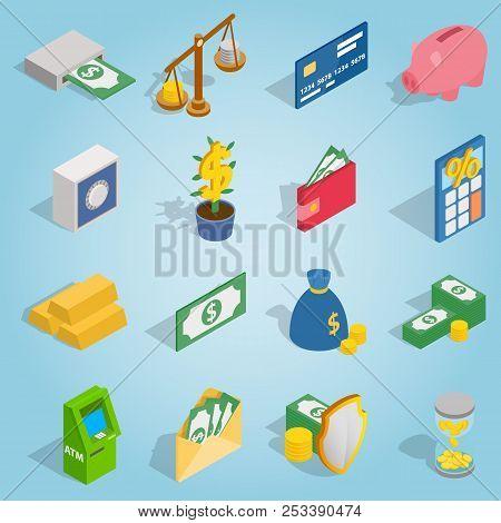 Isometric Bank Icons Set. Universal Bank Icons To Use For Web And Mobile Ui, Set Of Basic Bank Eleme