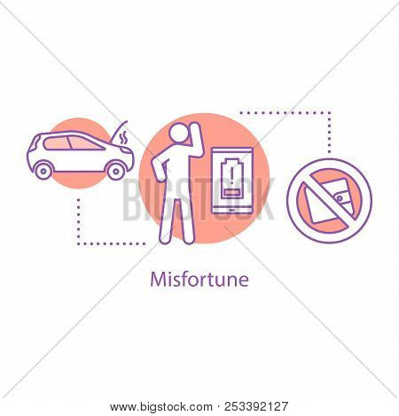 Bad Luck Concept Icon. Unhappy Day Idea Thin Line Illustration. Lost Wallet, Broken Car, Discharged