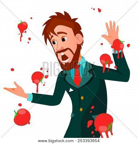 Businessman Having Tomatoes Fail Speech Vector. Unsuccessful Presentation. Bad Public Speech. Europe