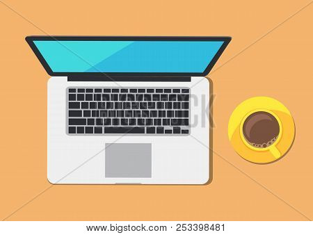 Modern Computer And Coffee Cup On Abstract Table Colorful Vector Illustration Of Laptop With Big Dis