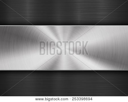 Metal Textured Abstract Technology Background With Circular And Straight Polished, Brushed Texture,
