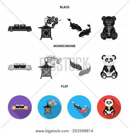 Sushi, Koi Fish, Japanese Lantern, Panda.japan Set Collection Icons In Black, Flat, Monochrome Style