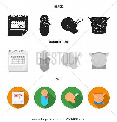 Calendar, Newborn, Stomach Massage, Artificial Feeding. Pregnancy Set Collection Icons In Black, Fla