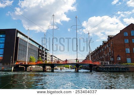 Copenhagen, Denmark - July 13, 2018. A Water Bridge Over The Canal. Architecture. City Landscape.