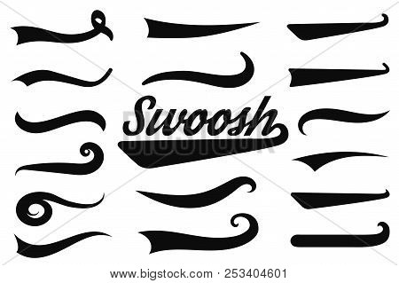 Typographic Swash And Swooshes Tails. Retro Swishes And Swashes For Athletic Typography, Logos, Base
