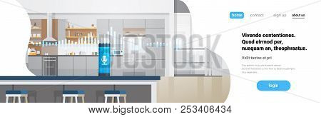 Home Intelligent Voice Activated Assistant Recognition Technology Concept Kitchen Interior Backgroun