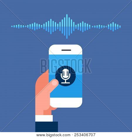 Hand Hold Phone App Intelligent Voice Personal Assistant Recognition Sound Waves Technology Concept