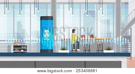 Working Intelligent Voice Activated Assistant Recognition Technology Concept Office Interior Backgro