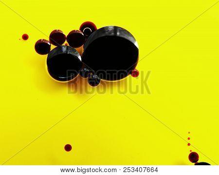 Drops Of Balsamic Vinegar In Olive Oil, Closeup