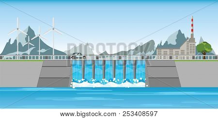 The Dam And Windmills Between Mountains And Water Rushing Through Gates At A Dam, Vector Illustratio