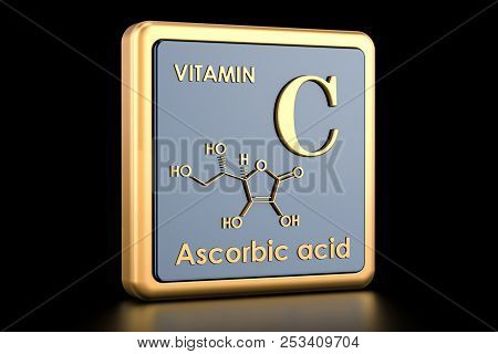 Vitamin C, ascorbic acid. Icon, chemical formula, molecular structure. 3D rendering poster