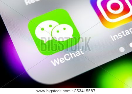 Sankt-petersburg, Russia, August 10, 2018: Wechat Messenger Application Icon On Apple Iphone X Smart