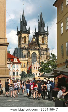 Prague, Czech Republic - Jun 10, 2018. View Church Of Our Lady Before Tyn At Old Town Square With To
