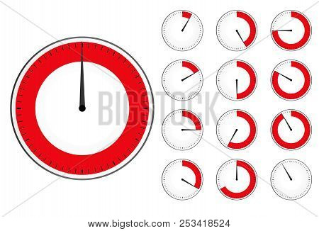 Timer Clock Set . Red Countdown Timer Icon