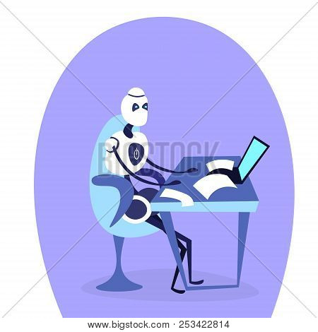 Modern Robot Sitting Office Workplace Using Laptop Bot Helper Artificial Intelligence Working Concep