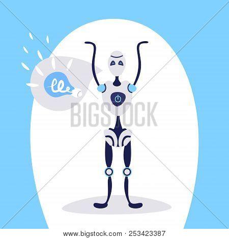 Modern Robot Raising Hands Up Chat Bubble Light Lamp Idea Bot Helper Artificial Intelligence Concept
