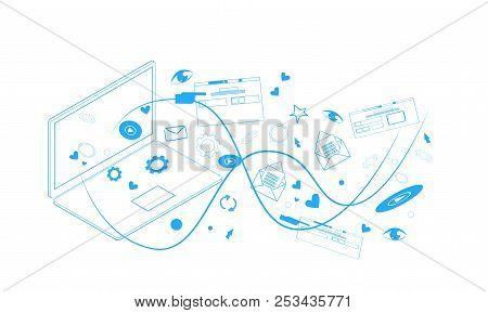 Web Browsing Laptop Screen Synchronization Online Computer Application Social Network Communication
