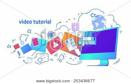 Video Tutorial Online Education Business Concept Template Web Horizontal Banner Isolated Copy Space