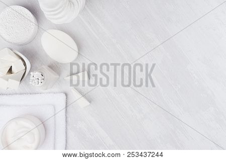 Fresh White Natural Cosmetics - White Cream, Soap, Salt, Towel And Bath Accessories On Soft Light Wh