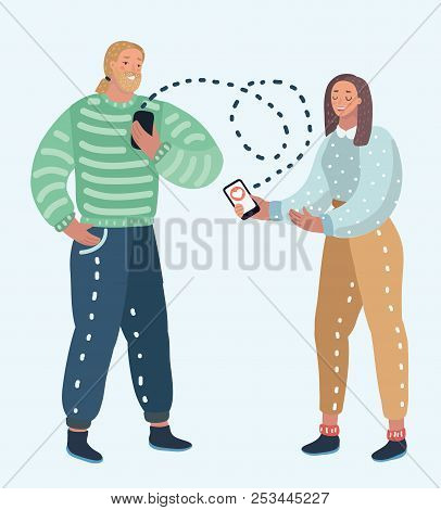 Vector Cartoon Illustration Of Online Dating Service, Virtual Communication And Searching Love In In