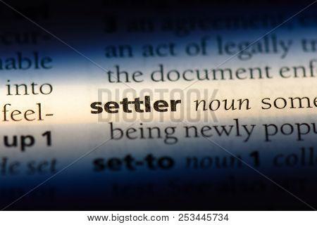 Settler Word In A Dictionary. Settler Concept.