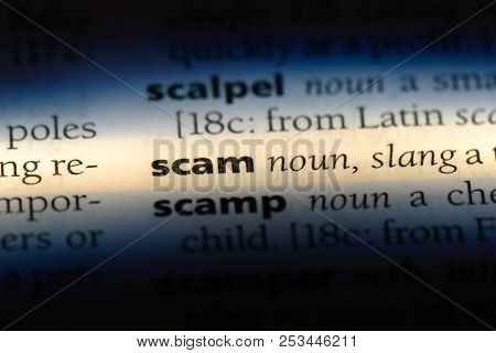 Scam Word In A Dictionary. Scam Concept.