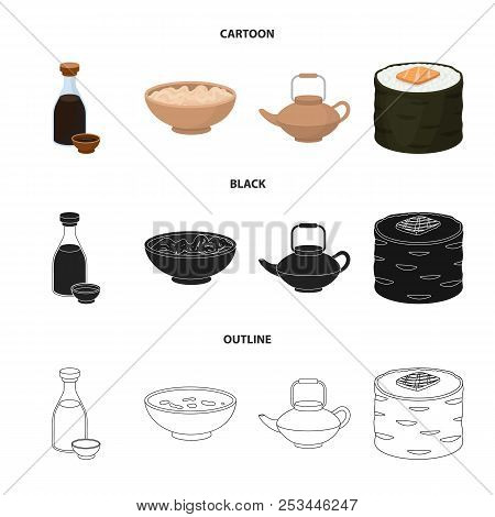 Soy Sauce, Noodles, Kettle.rolls.sushi Set Collection Icons In Cartoon, Black, Outline Style Vector