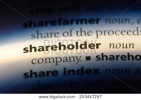 Shareholder Word In A Dictionary. Shareholder Concept.