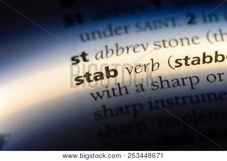 Stab Word In A Dictionary. Stab Concept.