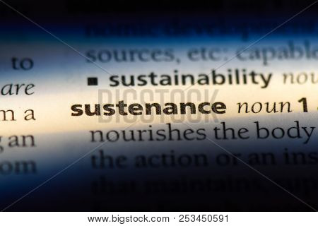 Sustenance Word In A Dictionary. Sustenance Concept.