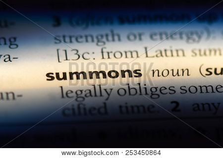 Summons Word In A Dictionary. Summons Concept.