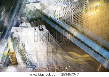 Abstract Image Of Tunnel And Escalator, Multiple Exposure. Image For Background Of Future Manipulati