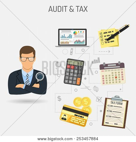 Auditing, Tax, Accounting Concept. Auditor Holds Magnifying Glass In Hand And Checks Financial Repor