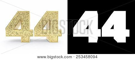 Golden Number Forty Four (number 44) On White Background With Drop Shadow And Alpha Channel. 3d Illu