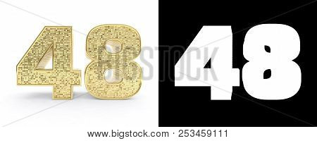 Golden Number Forty Eight (number 48) On White Background With Drop Shadow And Alpha Channel. 3d Ill