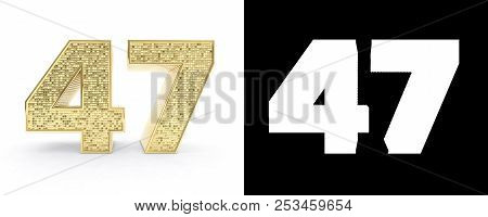 Golden Number Forty Seven (number 47) On White Background With Drop Shadow And Alpha Channel. 3d Ill