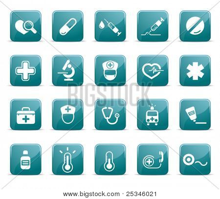 Medical and health care icons,glossy