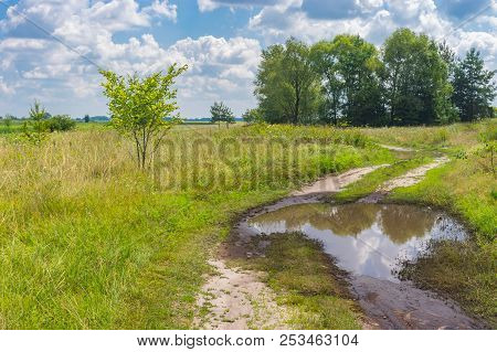 Summer Landscape With Meandering Earth Road In Poltavskaya Oblast, Ukraine