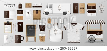 Mockup Set For Coffee Shop, Cafe Or Restaurant. Coffee Food Package For Corporate Identity Design. R