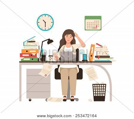 Busy female office worker or clerk sitting at desk completely covered with documents. Woman working at laptop overtime on day before deadline. Colorful vector illustration in flat cartoon style. poster